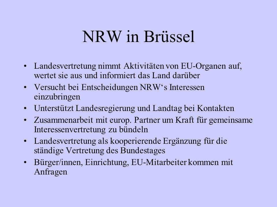 NRW in Brüssel Landesvertretung nimmt Aktivitäten von EU-Organen auf, wertet sie aus und informiert das Land darüber.