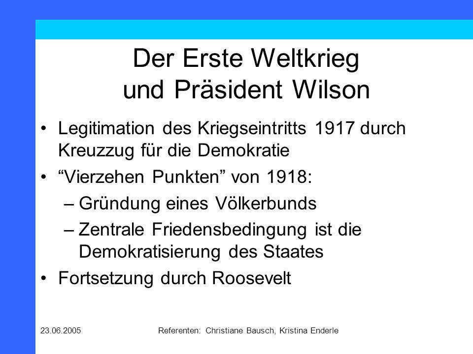 Der Erste Weltkrieg und Präsident Wilson