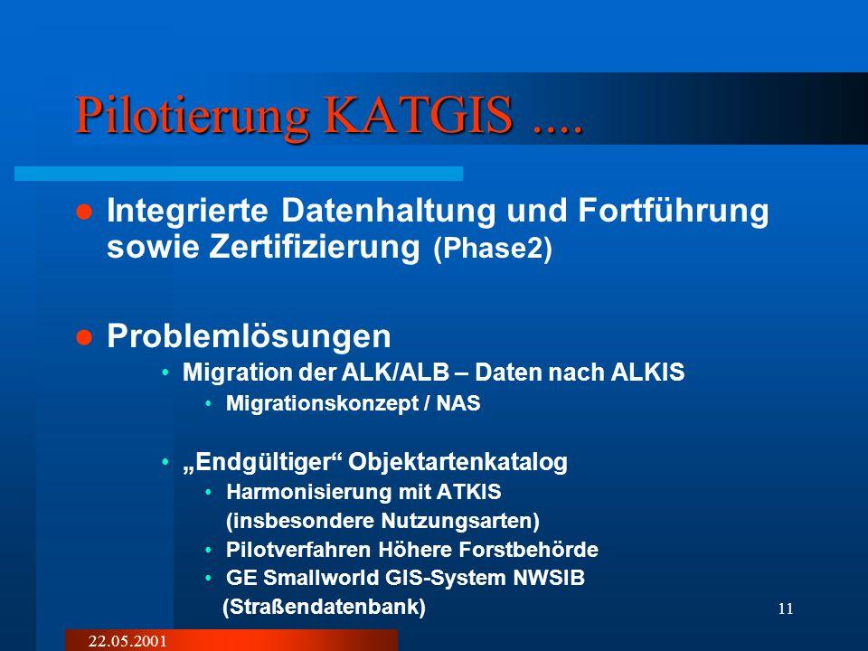 Pilotierung KATGIS .... Integrierte Datenhaltung und Fortführung sowie Zertifizierung (Phase2) Problemlösungen.
