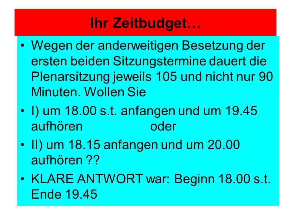Ihr Zeitbudget…