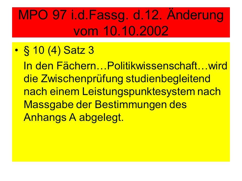 MPO 97 i.d.Fassg. d.12. Änderung vom 10.10.2002