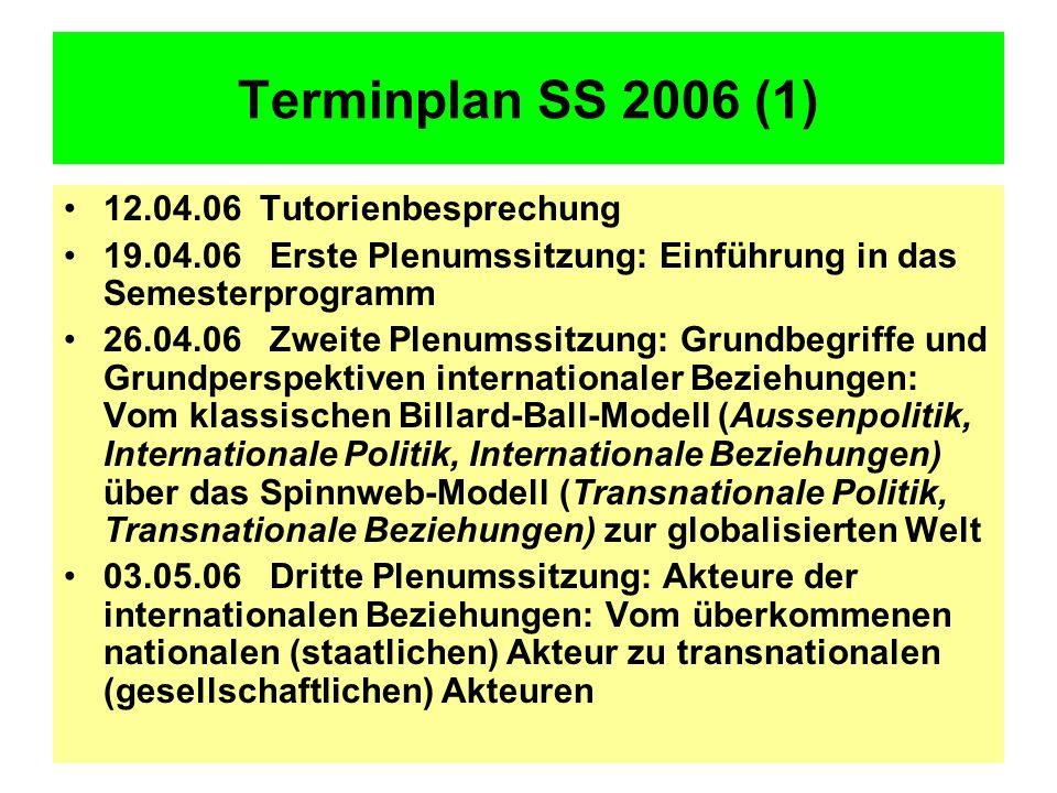 Terminplan SS 2006 (1) 12.04.06 Tutorienbesprechung