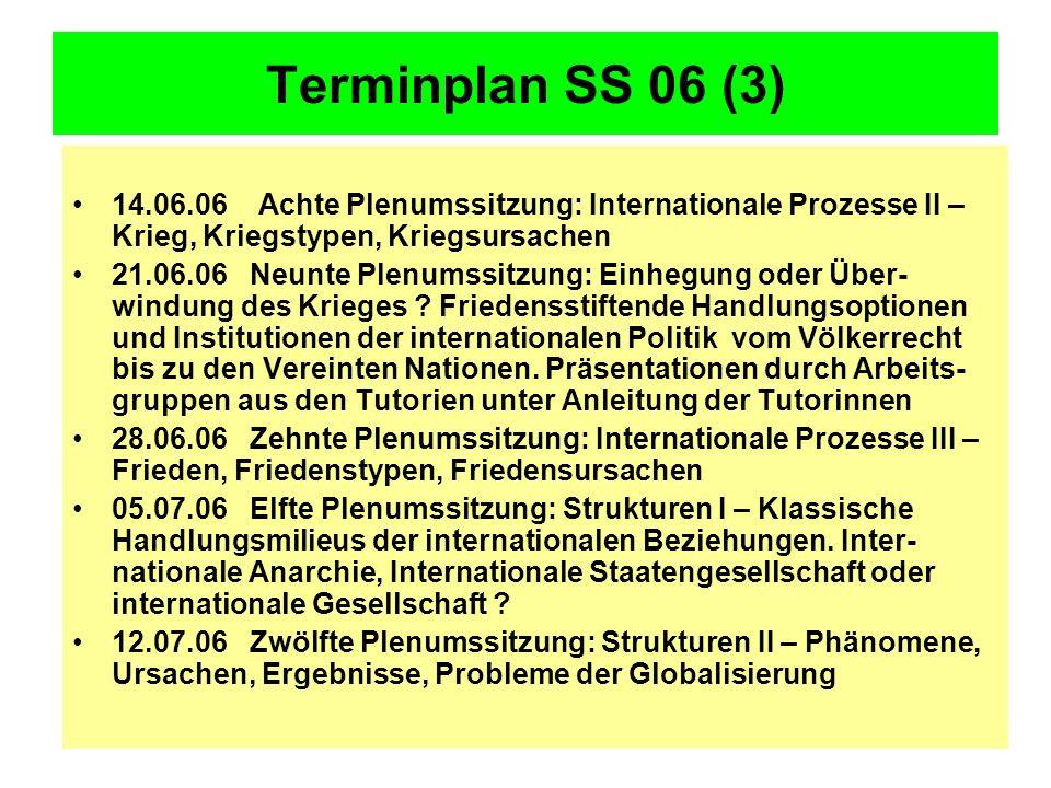 Terminplan SS 06 (3) 14.06.06 Achte Plenumssitzung: Internationale Prozesse II – Krieg, Kriegstypen, Kriegsursachen.