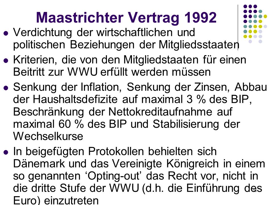 Maastrichter Vertrag 1992 Verdichtung der wirtschaftlichen und politischen Beziehungen der Mitgliedsstaaten.