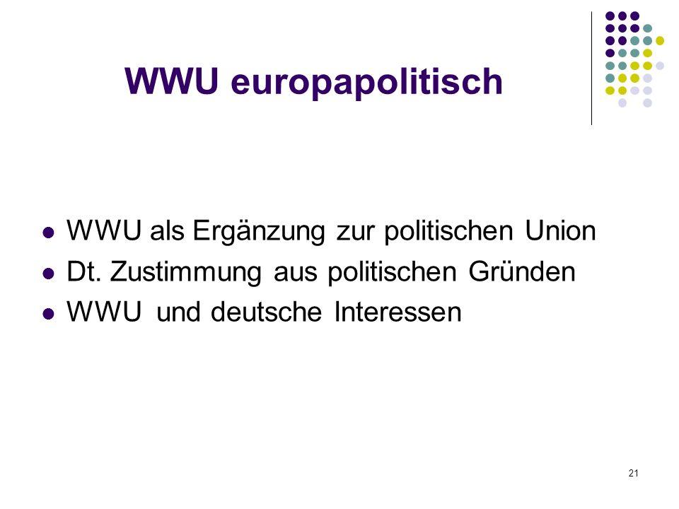 WWU europapolitisch WWU als Ergänzung zur politischen Union