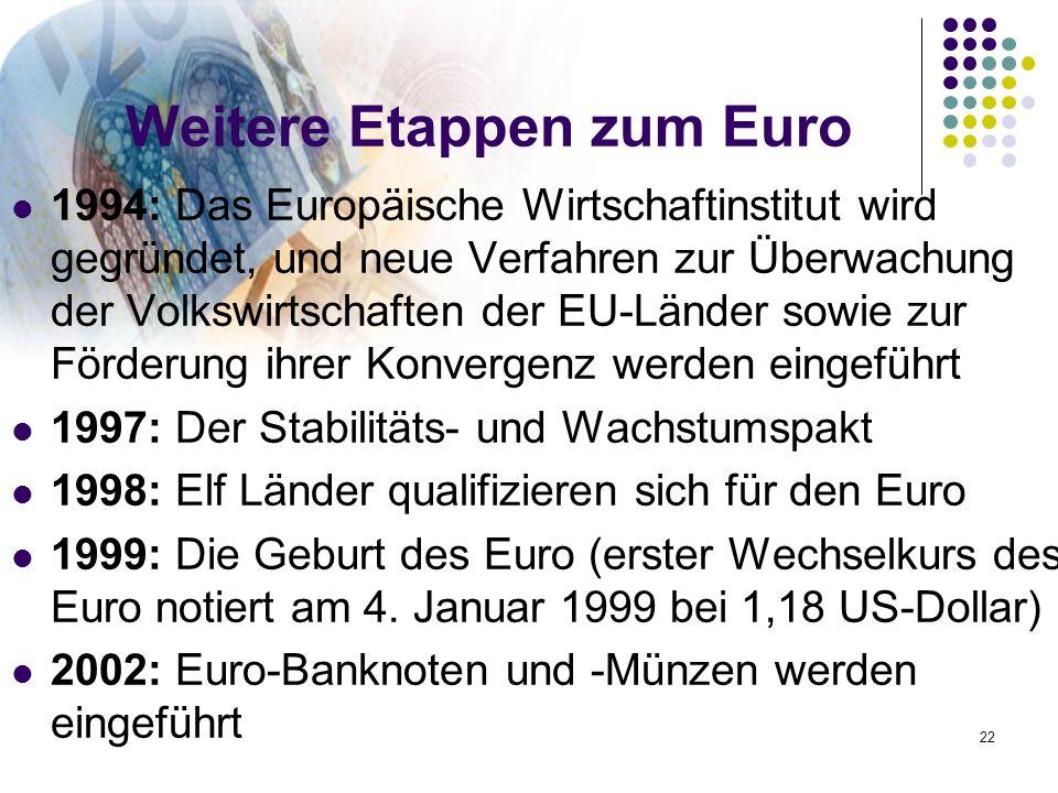 Weitere Etappen zum Euro