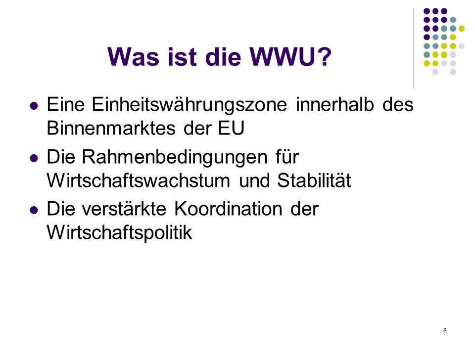 Was ist die WWU Eine Einheitswährungszone innerhalb des Binnenmarktes der EU. Die Rahmenbedingungen für Wirtschaftswachstum und Stabilität.