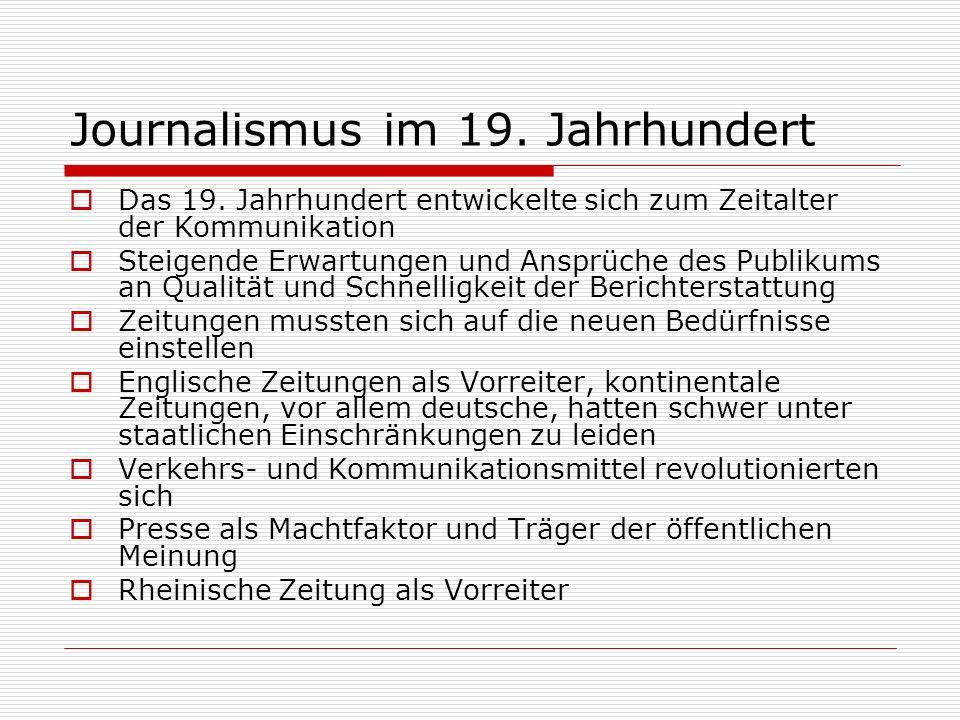 Journalismus im 19. Jahrhundert