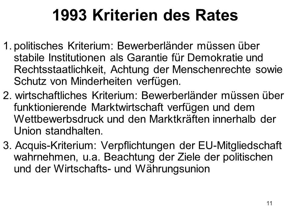 1993 Kriterien des Rates
