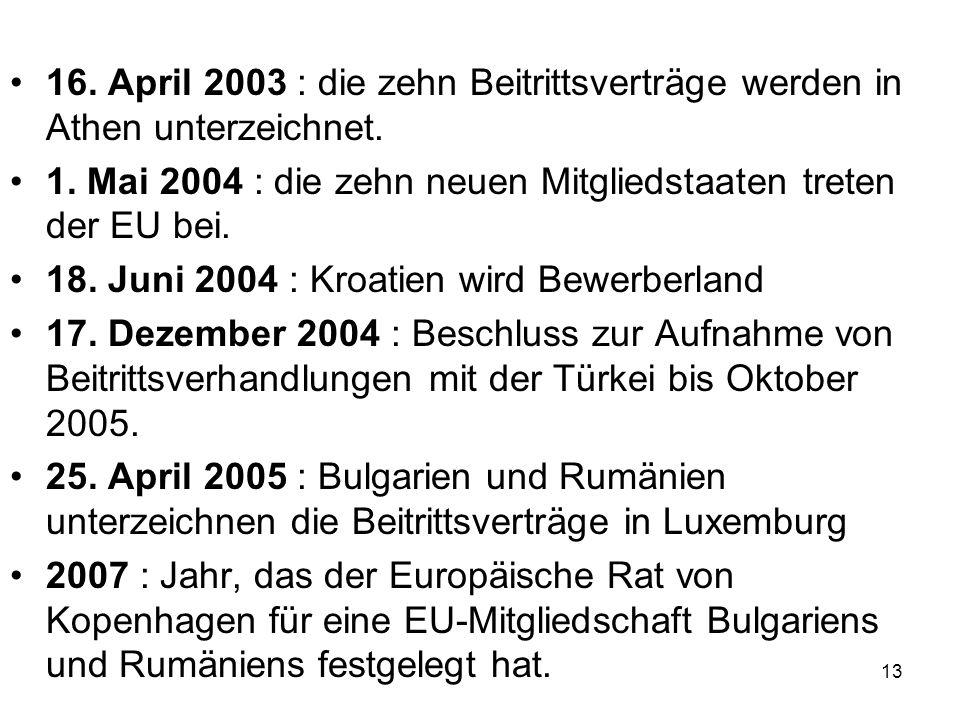 16. April 2003 : die zehn Beitrittsverträge werden in Athen unterzeichnet.