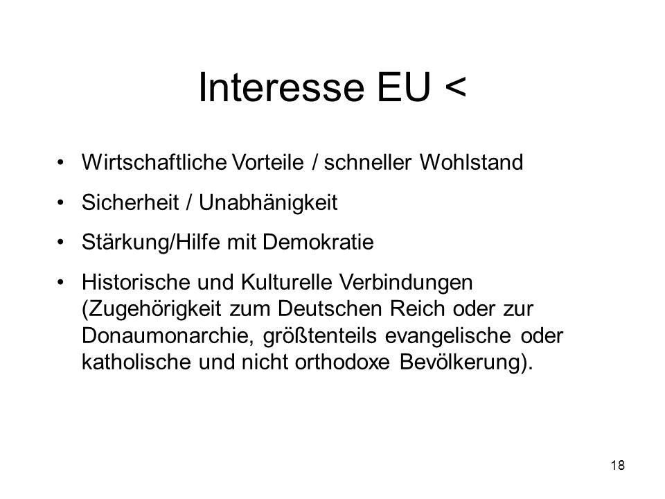 Interesse EU < Wirtschaftliche Vorteile / schneller Wohlstand