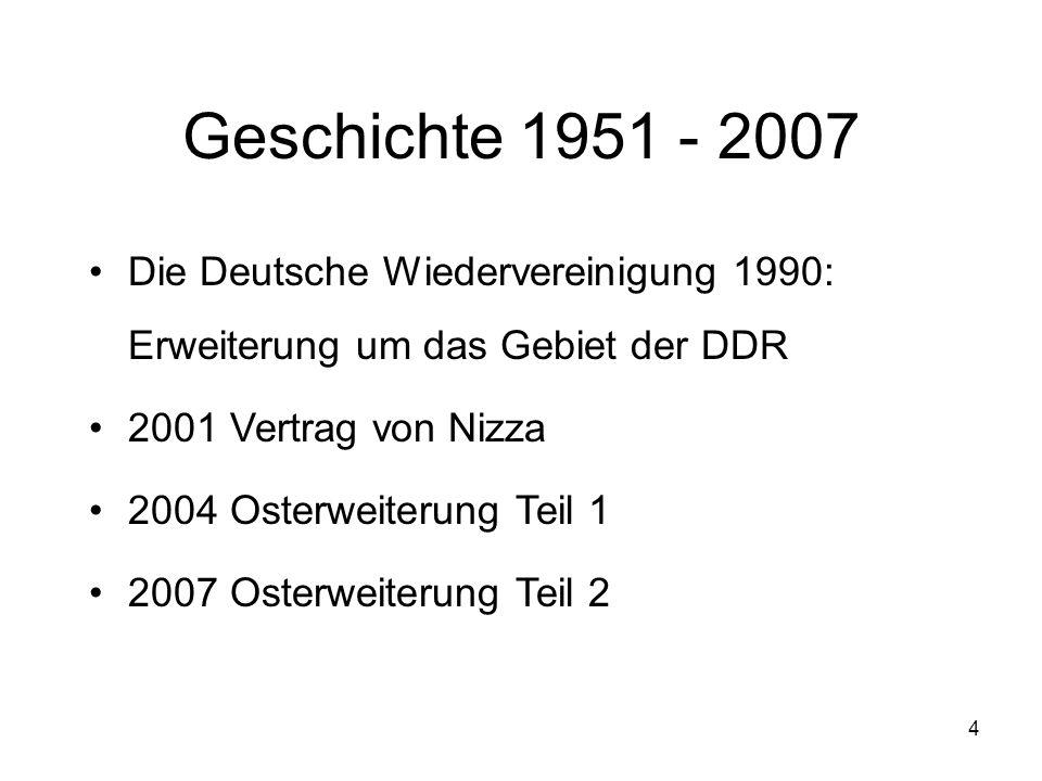 Geschichte 1951 - 2007 Die Deutsche Wiedervereinigung 1990: Erweiterung um das Gebiet der DDR. 2001 Vertrag von Nizza.