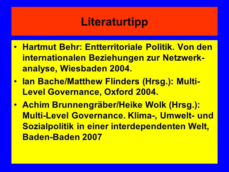 Literaturtipp Hartmut Behr: Entterritoriale Politik. Von den internationalen Beziehungen zur Netzwerk-analyse, Wiesbaden 2004.