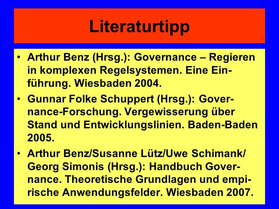 Literaturtipp Arthur Benz (Hrsg.): Governance – Regieren in komplexen Regelsystemen. Eine Ein-führung. Wiesbaden 2004.