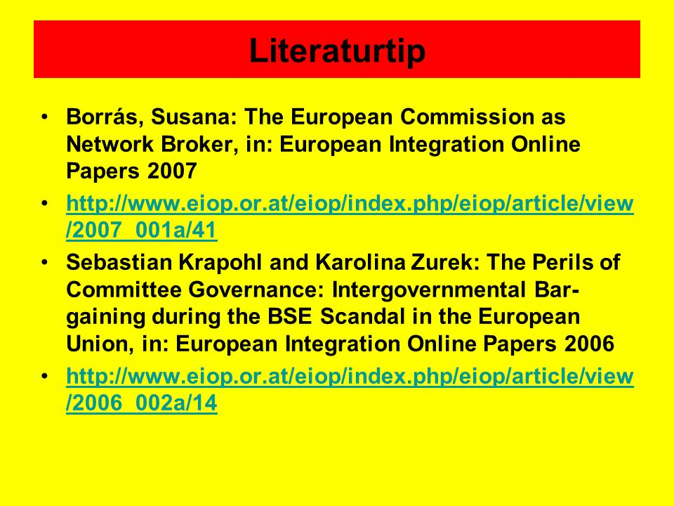 Literaturtip Borrás, Susana: The European Commission as Network Broker, in: European Integration Online Papers 2007.