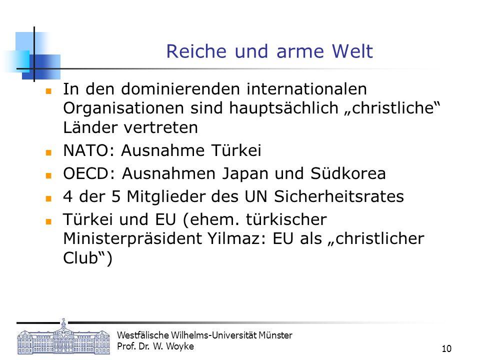 """Reiche und arme WeltIn den dominierenden internationalen Organisationen sind hauptsächlich """"christliche Länder vertreten."""