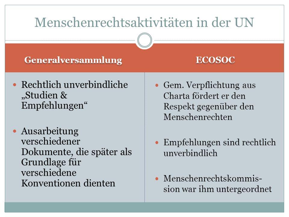 Menschenrechtsaktivitäten in der UN