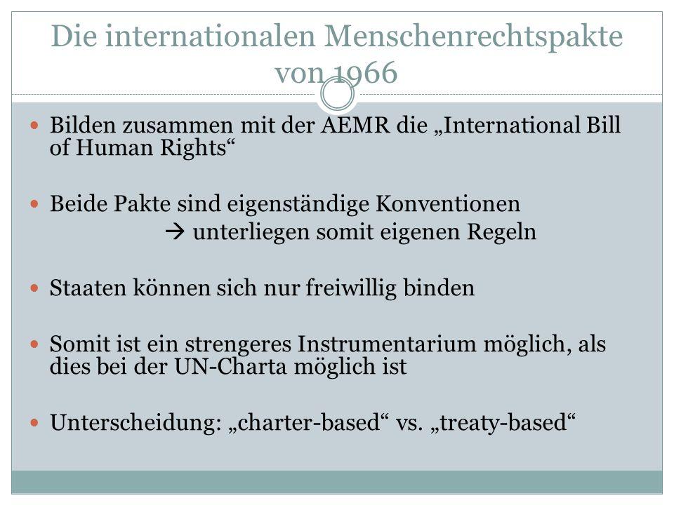Die internationalen Menschenrechtspakte von 1966