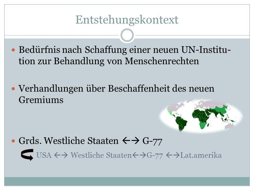 EntstehungskontextBedürfnis nach Schaffung einer neuen UN-Institu-tion zur Behandlung von Menschenrechten.