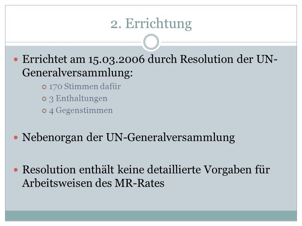 2. ErrichtungErrichtet am 15.03.2006 durch Resolution der UN-Generalversammlung: 170 Stimmen dafür.