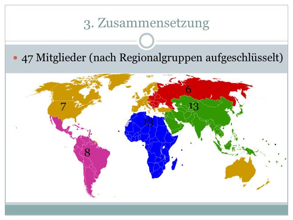 3. Zusammensetzung 47 Mitglieder (nach Regionalgruppen aufgeschlüsselt) 6 7 13 13 8