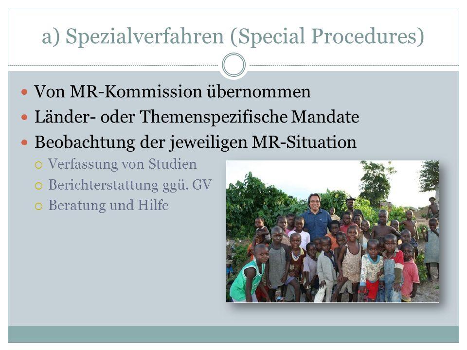 a) Spezialverfahren (Special Procedures)