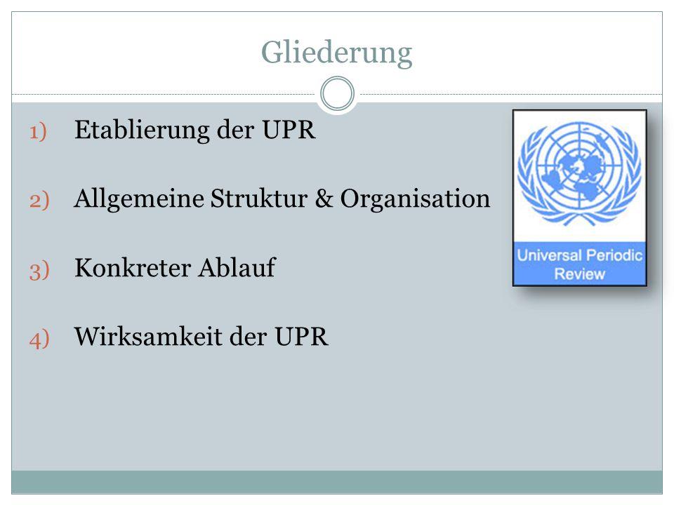 Gliederung Etablierung der UPR Allgemeine Struktur & Organisation