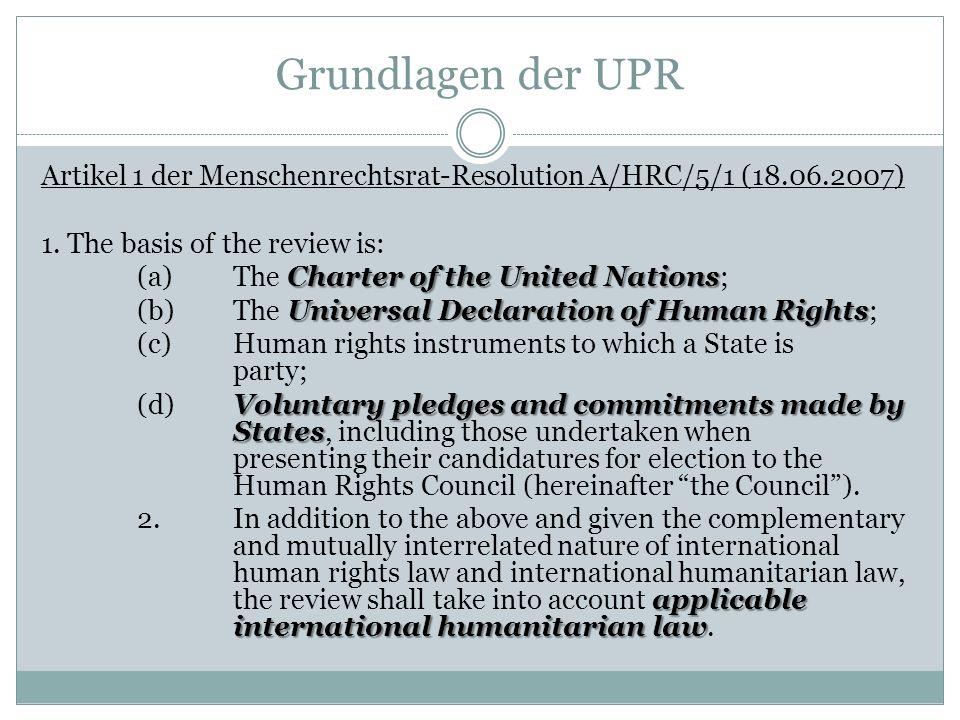 Grundlagen der UPR Artikel 1 der Menschenrechtsrat-Resolution A/HRC/5/1 (18.06.2007) 1. The basis of the review is: