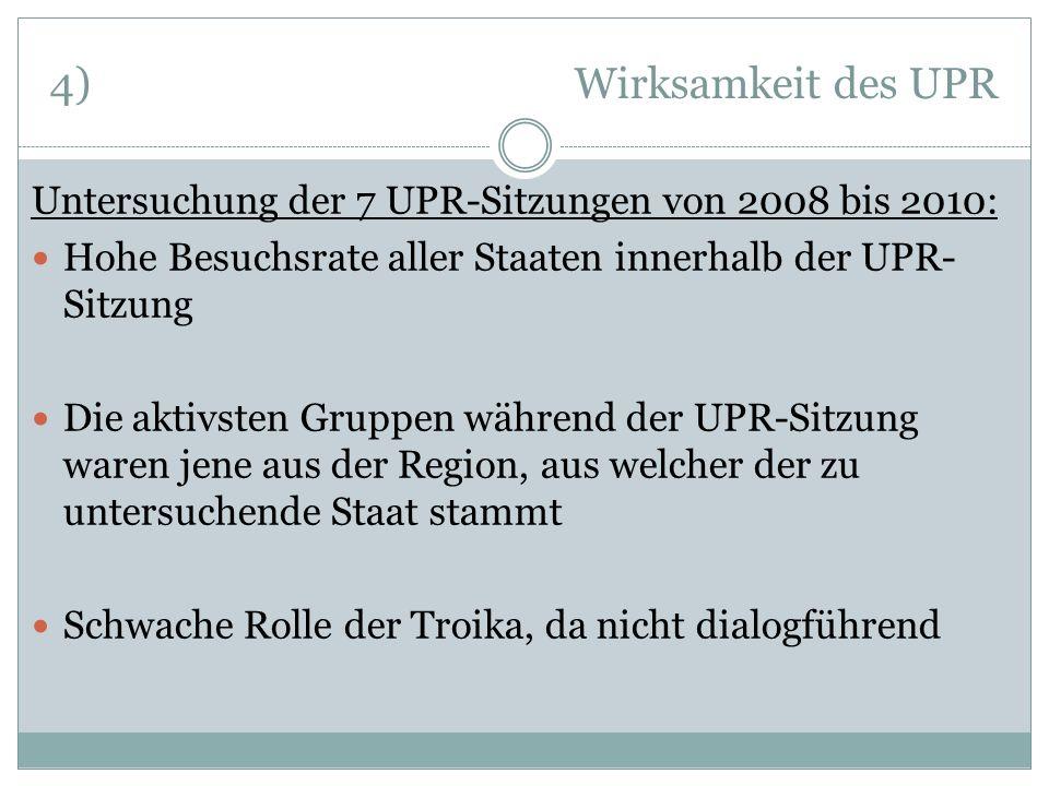 4) Wirksamkeit des UPRUntersuchung der 7 UPR-Sitzungen von 2008 bis 2010: Hohe Besuchsrate aller Staaten innerhalb der UPR-Sitzung.