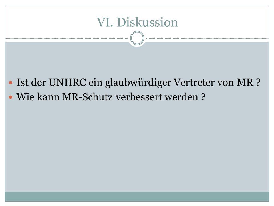 VI. Diskussion Ist der UNHRC ein glaubwürdiger Vertreter von MR