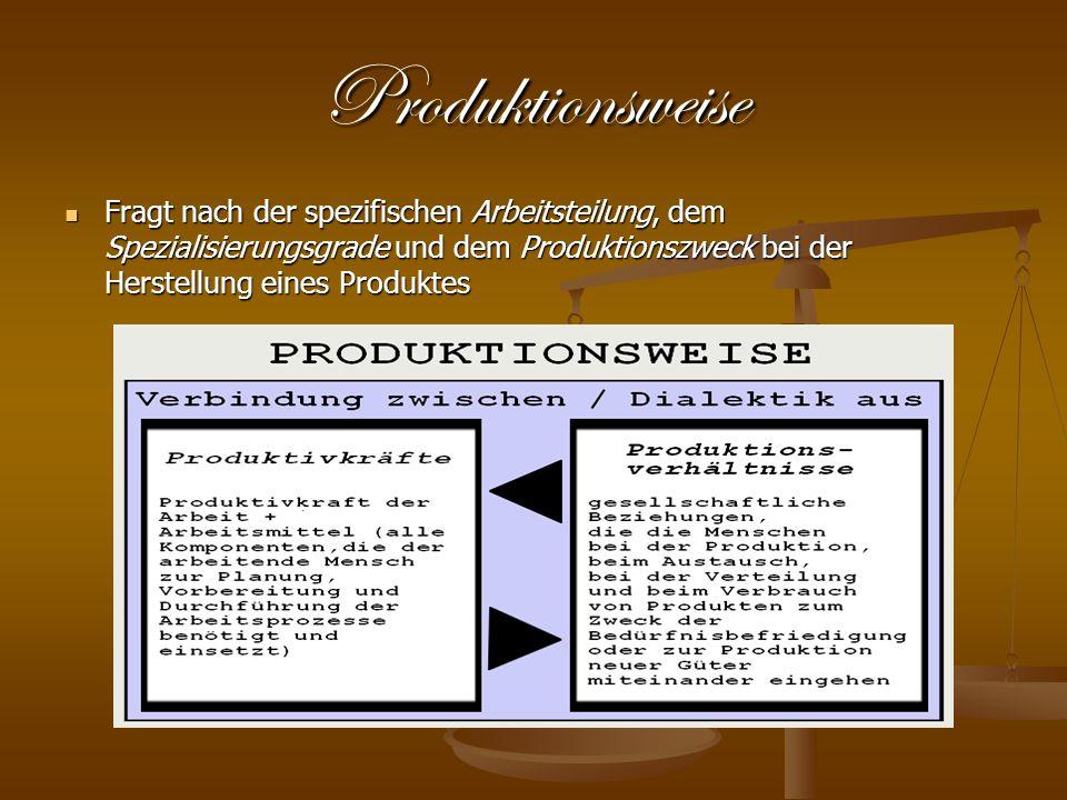 Produktionsweise Fragt nach der spezifischen Arbeitsteilung, dem Spezialisierungsgrade und dem Produktionszweck bei der Herstellung eines Produktes.