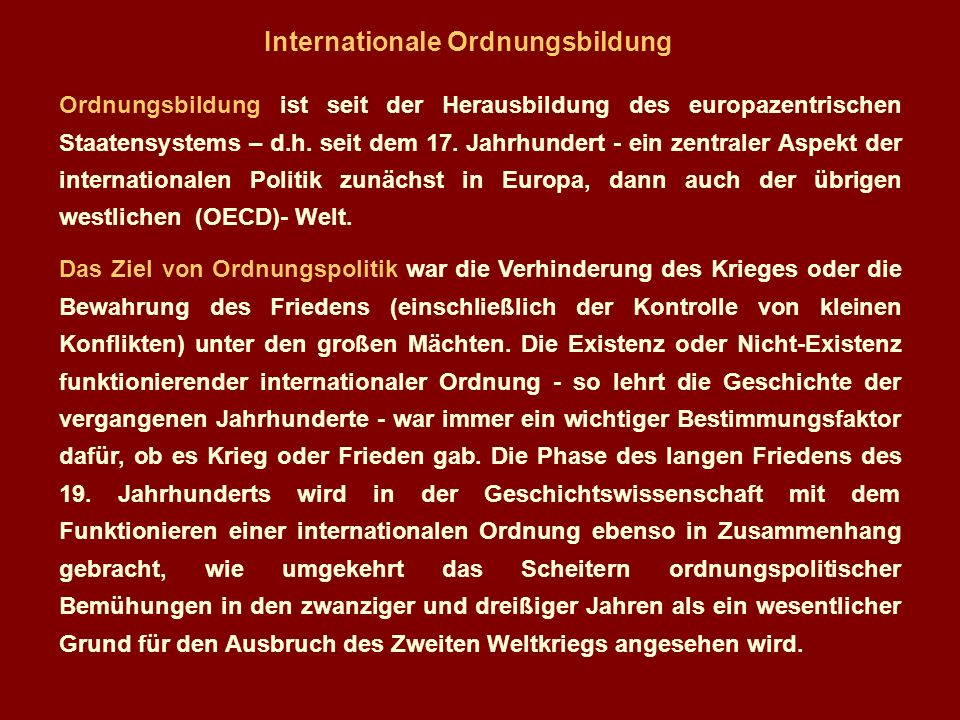 Internationale Ordnungsbildung