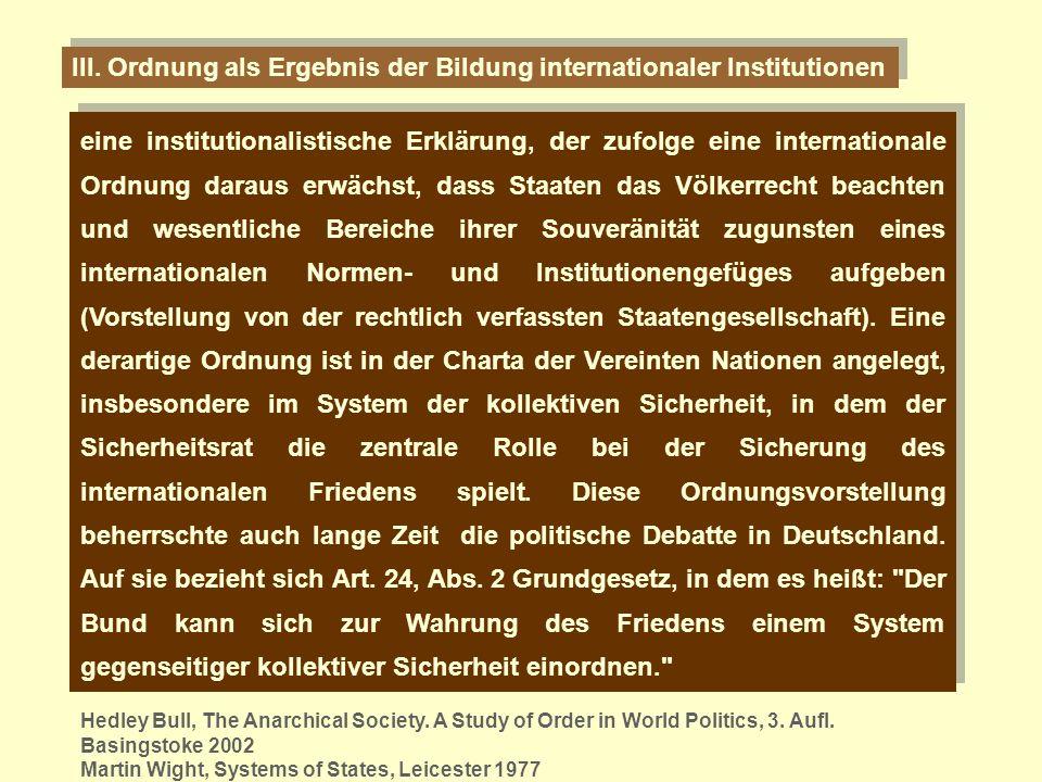 III. Ordnung als Ergebnis der Bildung internationaler Institutionen