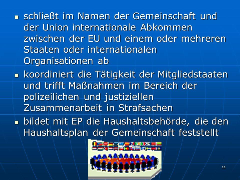 schließt im Namen der Gemeinschaft und der Union internationale Abkommen zwischen der EU und einem oder mehreren Staaten oder internationalen Organisationen ab