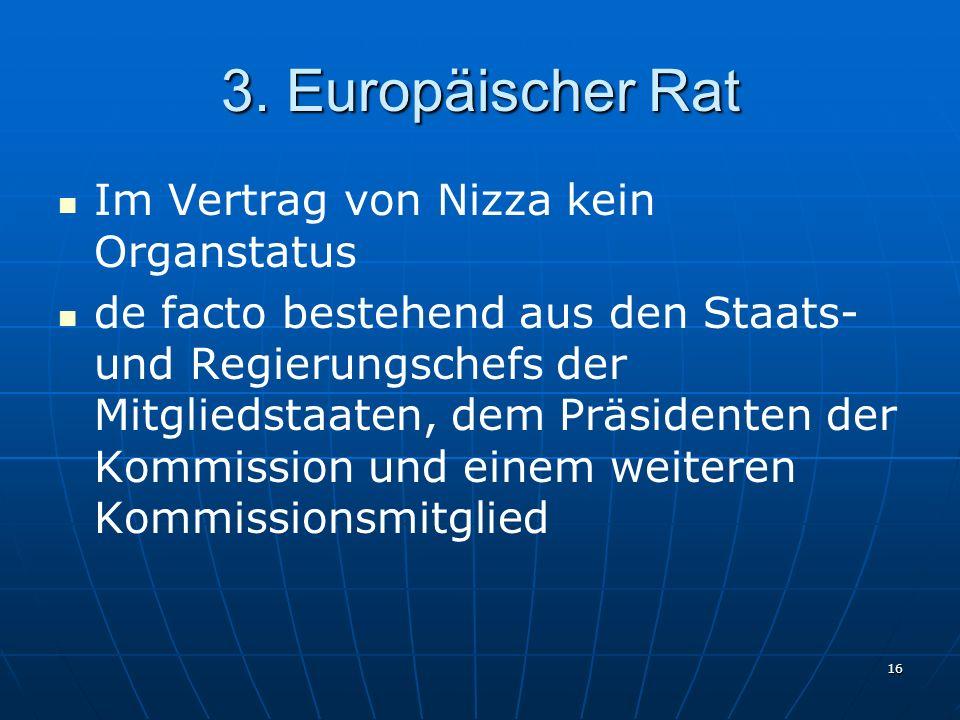 3. Europäischer Rat Im Vertrag von Nizza kein Organstatus