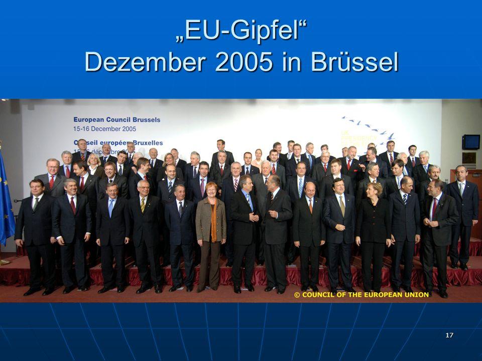 """""""EU-Gipfel Dezember 2005 in Brüssel"""