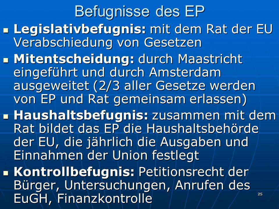 Befugnisse des EP Legislativbefugnis: mit dem Rat der EU Verabschiedung von Gesetzen.
