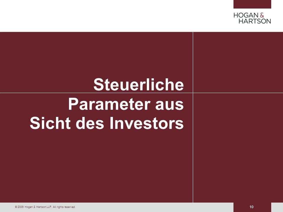 Steuerliche Parameter aus Sicht des Investors