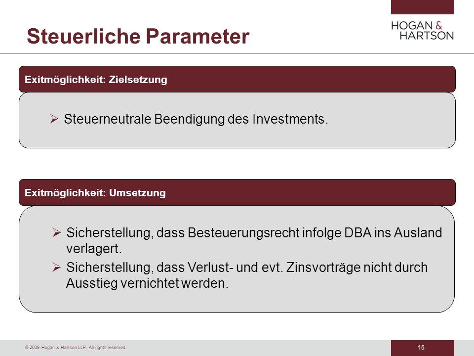 Steuerliche Parameter
