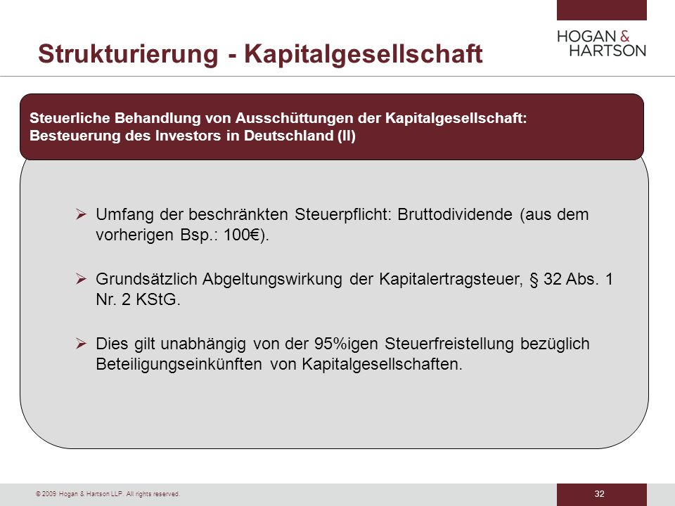 Strukturierung - Kapitalgesellschaft