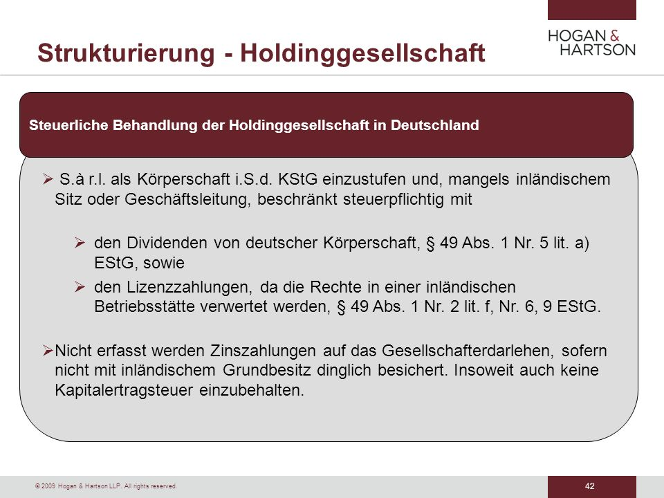 Strukturierung - Holdinggesellschaft