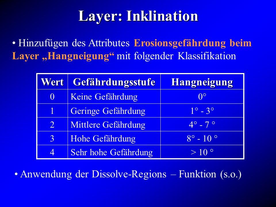 """Layer: Inklination Hinzufügen des Attributes Erosionsgefährdung beim Layer """"Hangneigung mit folgender Klassifikation."""