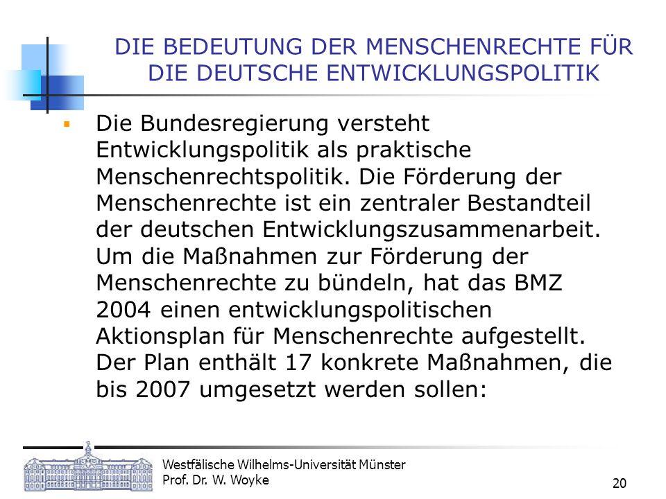 DIE BEDEUTUNG DER MENSCHENRECHTE FÜR DIE DEUTSCHE ENTWICKLUNGSPOLITIK