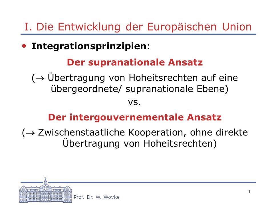 I. Die Entwicklung der Europäischen Union