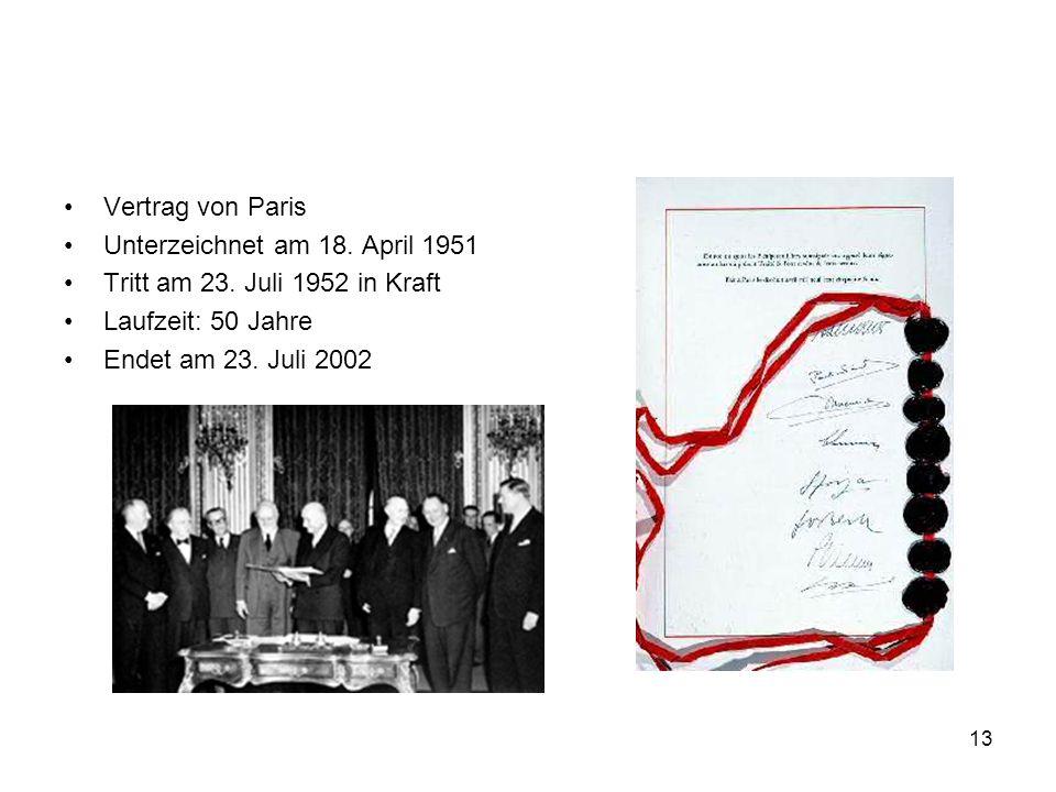 Vertrag von ParisUnterzeichnet am 18. April 1951. Tritt am 23. Juli 1952 in Kraft. Laufzeit: 50 Jahre.