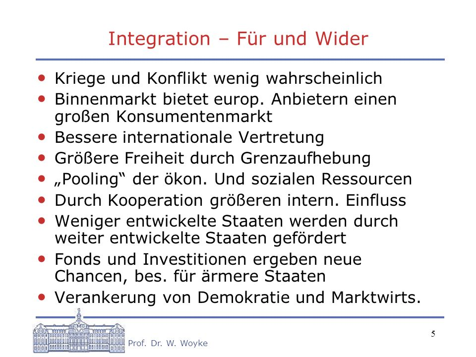 Integration – Für und Wider