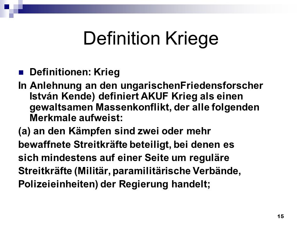 Definition Kriege Definitionen: Krieg