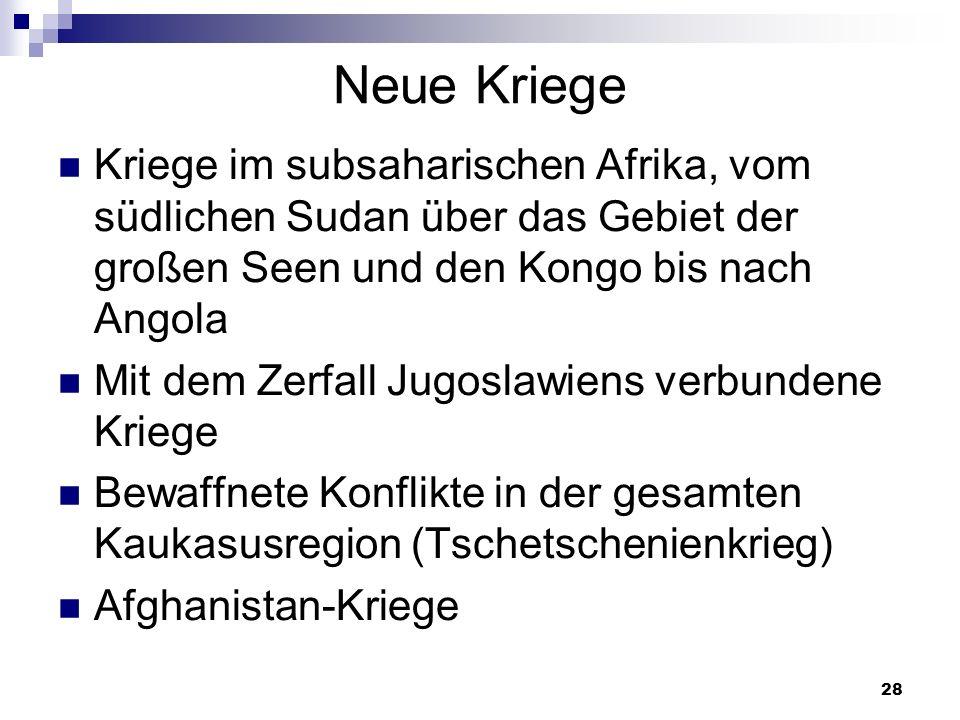 Neue Kriege Kriege im subsaharischen Afrika, vom südlichen Sudan über das Gebiet der großen Seen und den Kongo bis nach Angola.
