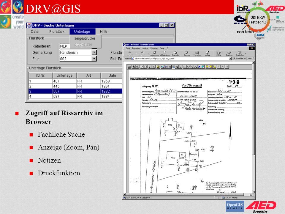 DRV@GIS Zugriff auf Rissarchiv im Browser Fachliche Suche