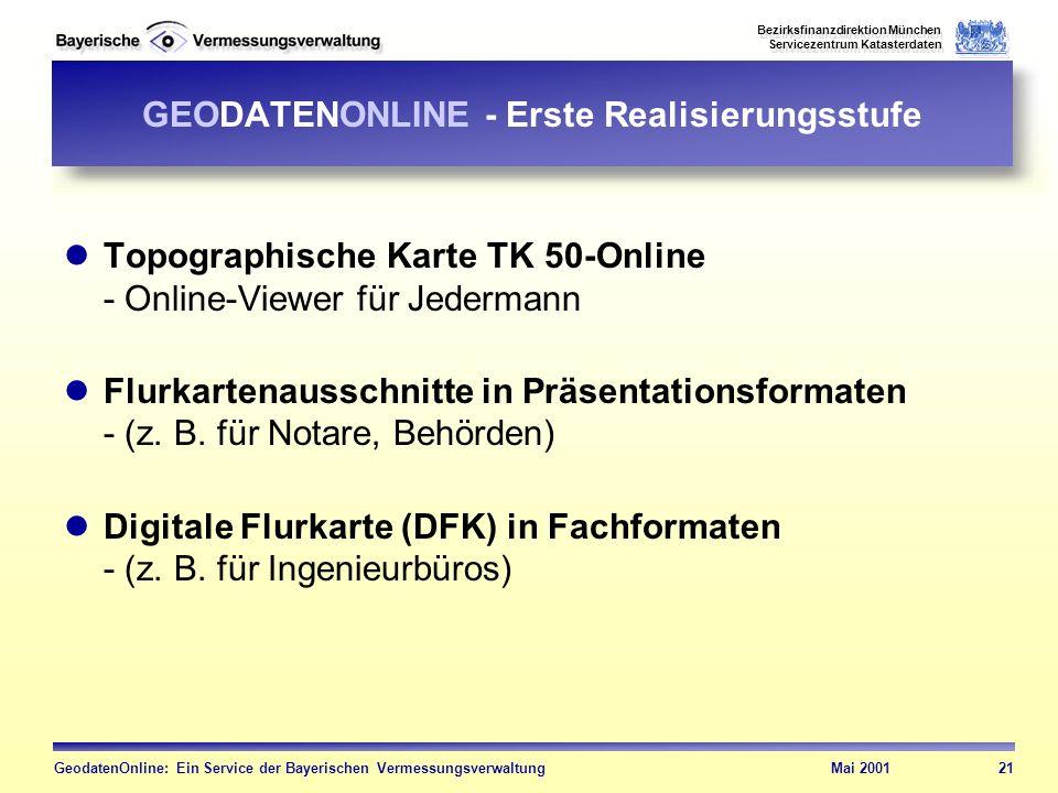 GEODATENONLINE - Erste Realisierungsstufe